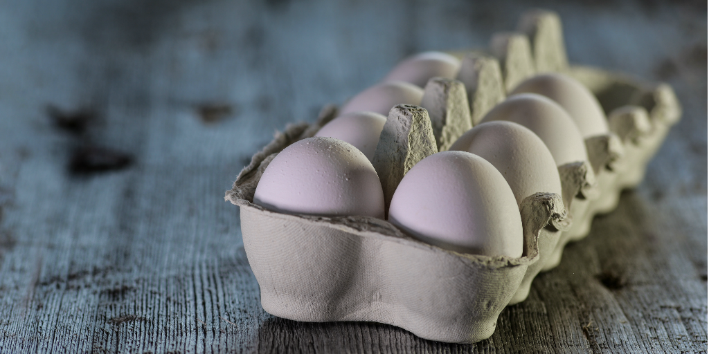 Eggs in an egg carton.