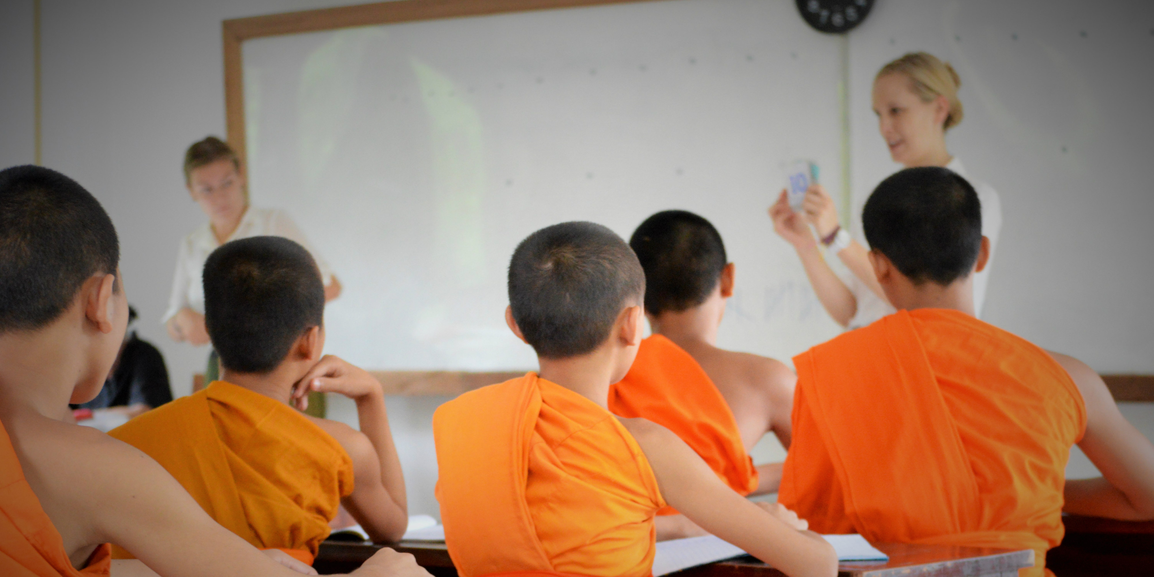 Volunteer experience looks good on your resume. Teaching English to novist Buddhist monks is an example of volunteer work.
