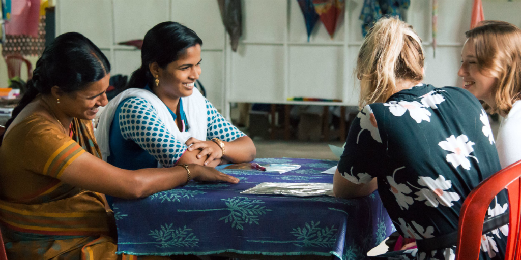 Volunteers from a group travel project to India work in women's empowerment