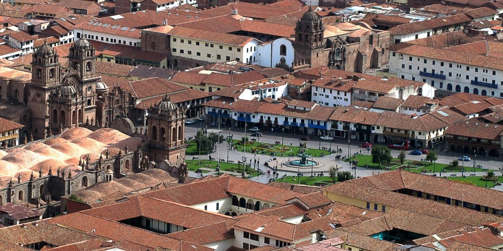 An aerial shot of the Cusco city centre, where almost half of the local people speak the quechua language.