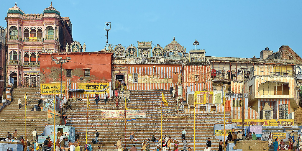 You'll encounter gorgeous buildings when you take a walking tour in Varanasi, India