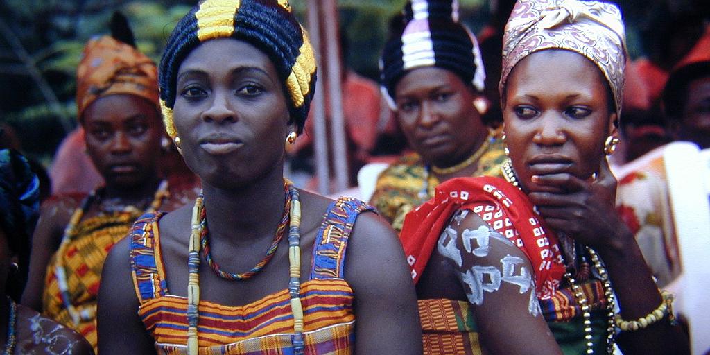 Ghanaian women in traditional Ghanaian dress.