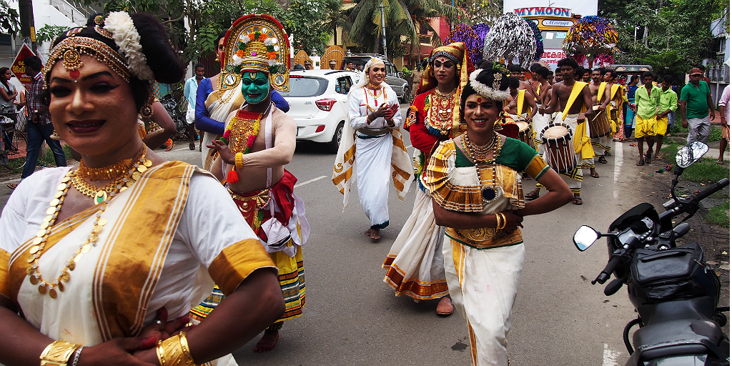 Travel to Kerala, India and see Kathakali dancers.