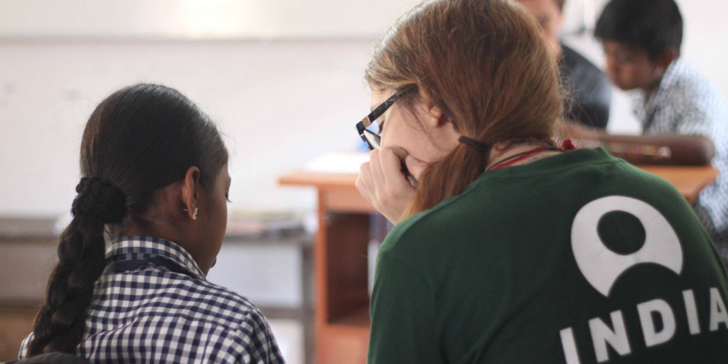 volunteer with children in India